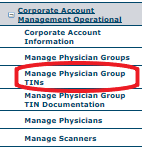 NRDR Manage Physician Group TINs