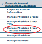 Manage Physician Group TIN Documentation
