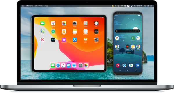 Reflector screen mirroring iPad and Samsung Galaxy on a MacBook
