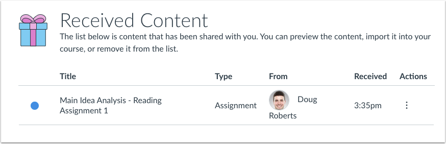 Shared Content Page with shared content