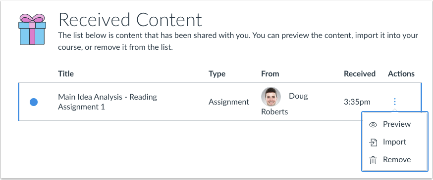Shared Content page with action items