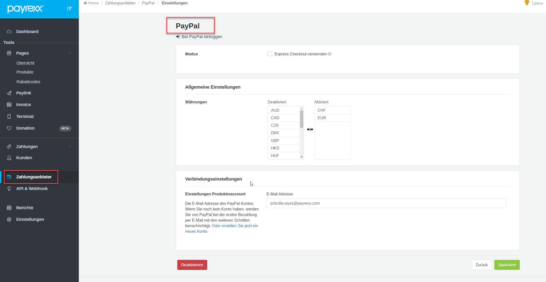 Paypal Adresse ändern