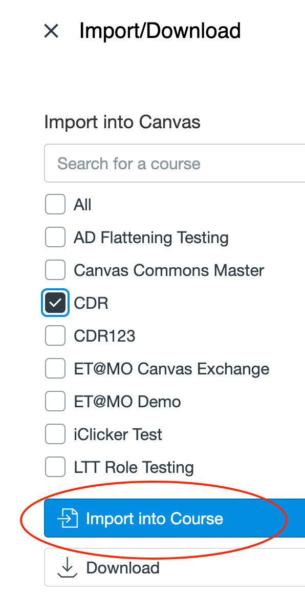 importing a canvas commons module   search teaching tools