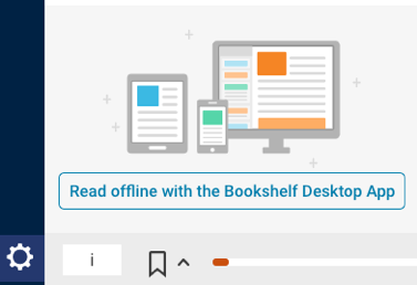 "Image showing the ""Settings"" icon and ""Read offline with the Bookshelf Desktop App"" button."