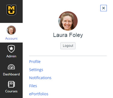 Account menu in Canvas. Profile photo is displayed at top. Options include Logout, Profile, Settings, Notifications, Files, and ePortfolios.