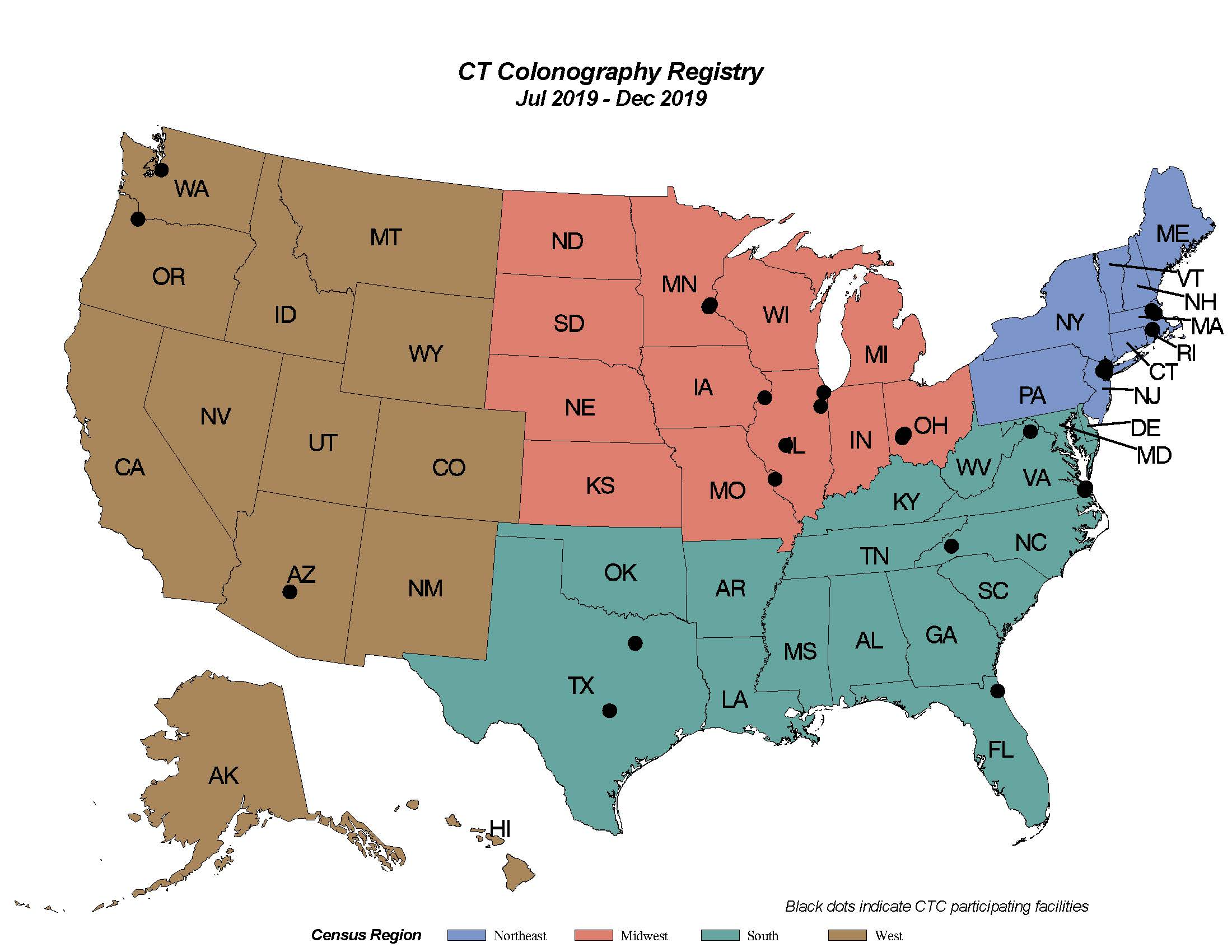 CT Colonography Registry Map