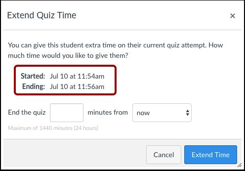 extending quiz time