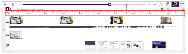 Panopto video timeline is emphazied with a red box around it. The pointer tool is used to indicate a particular spot on the video's timeline.