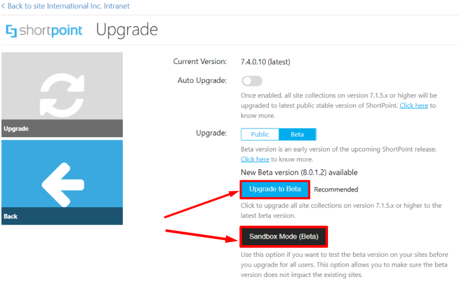 Upgrade to Beta and Sandbox Mode (Beta) options in the Upgrade page