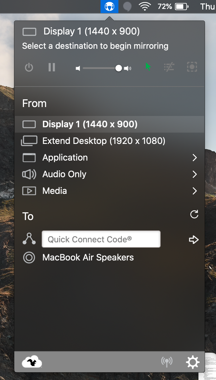 Click the AirParrot icon in the Menu Bar and select the device to mirror to