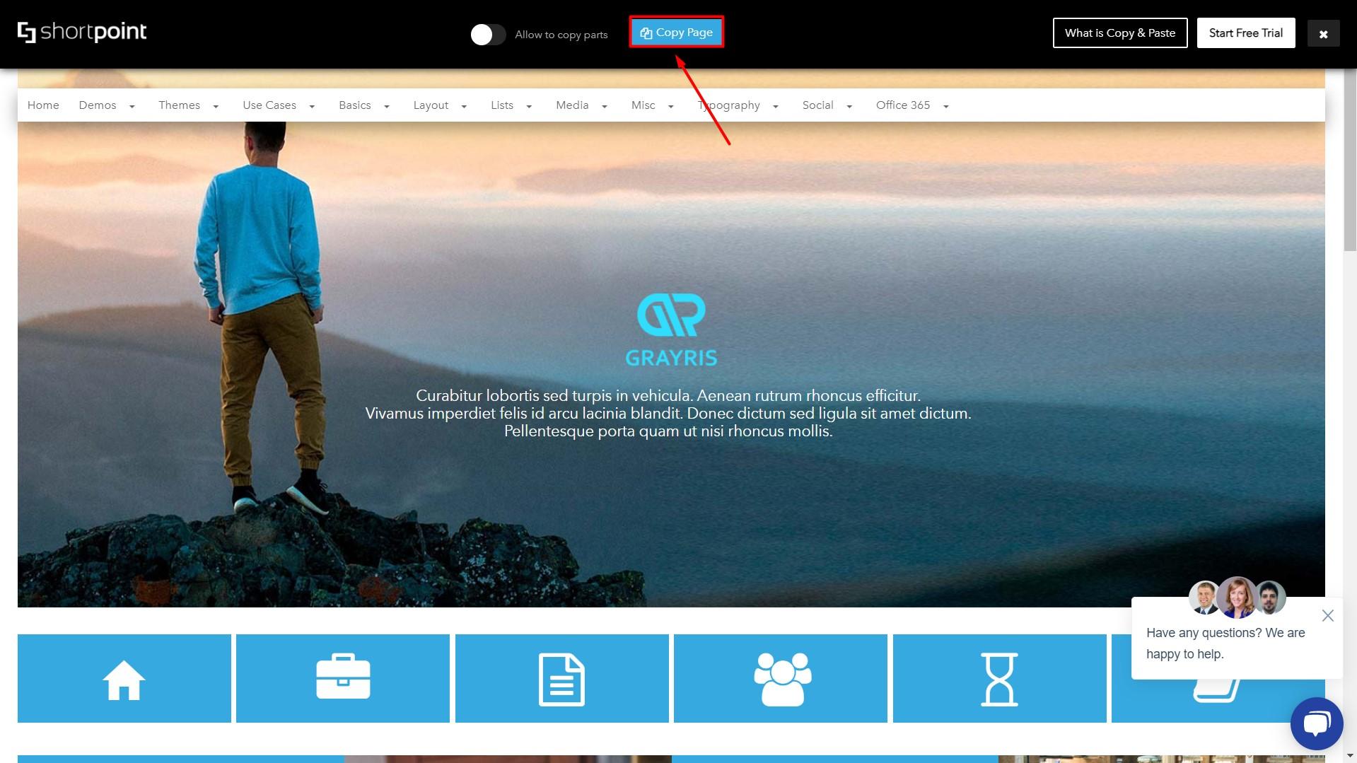 copy page button