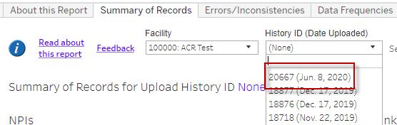 History ID dropdown menu