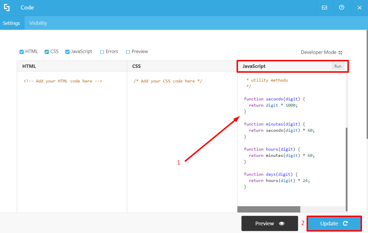 Adding code snippet to Code Design Element in JavaScript field: Wireframe Builder and Legacy Page Builder