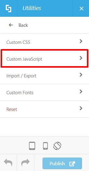 Utilties > Custom JavaScript