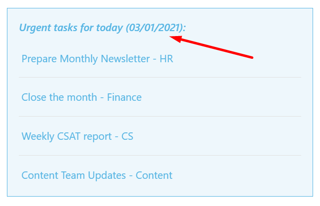 Static date in the ShortPoint Design Element
