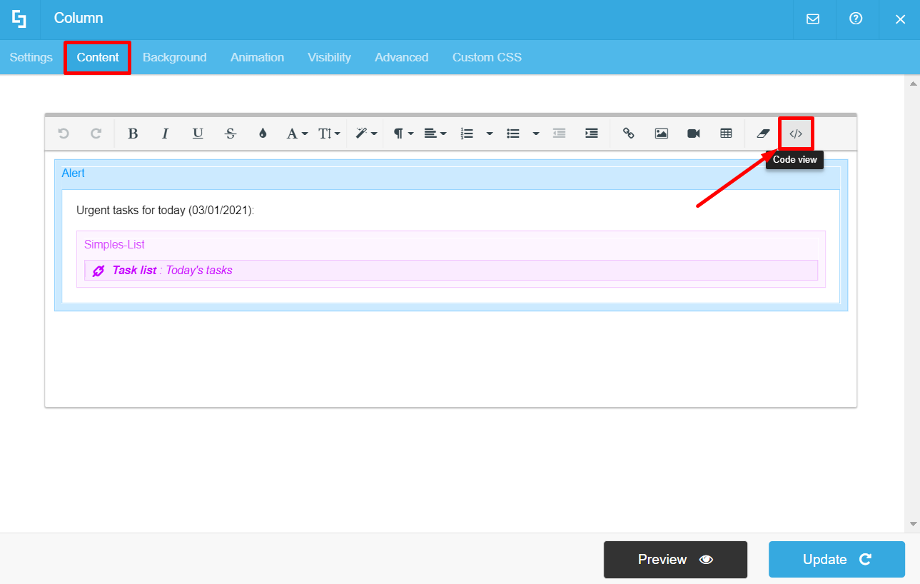 Content tab and code view option highlighted