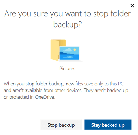 Screenshot of when you stop protecting folders in OneDrive