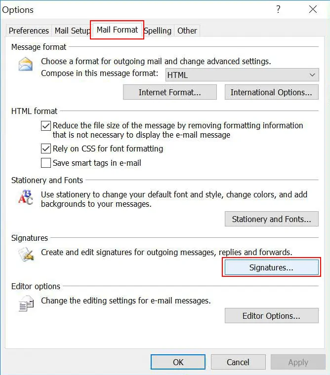 Outlook Mail Format Signatures