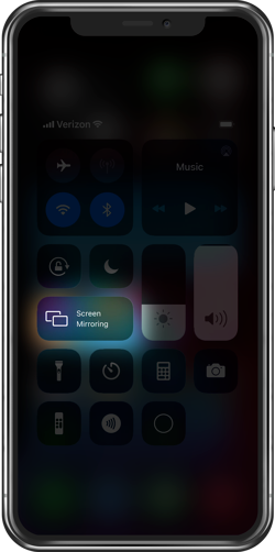 iPhone Control Center Screen Mirroring