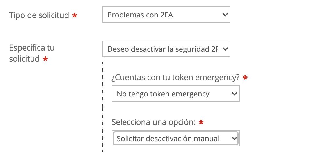 Imagen con opciones que escoger para un ticket de desactivación de 2FA