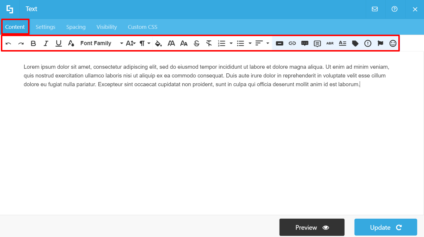Content tab and text editing options: Wireframe Builder
