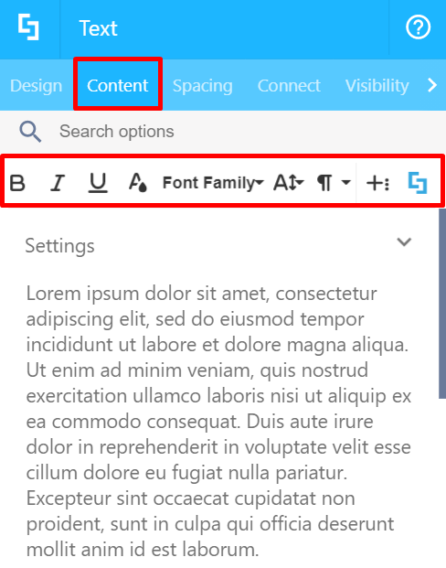 Content tab and text editing options: Visual Builder