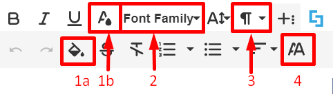 Additional text formatting options in Visual Builder