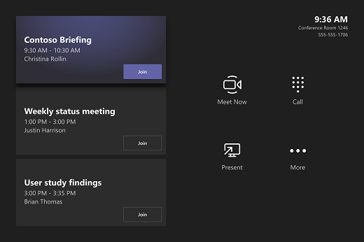 A meeting room console with three meetings on it: Contoso Briefing, Weekly status meeting, and Customer user study report out.