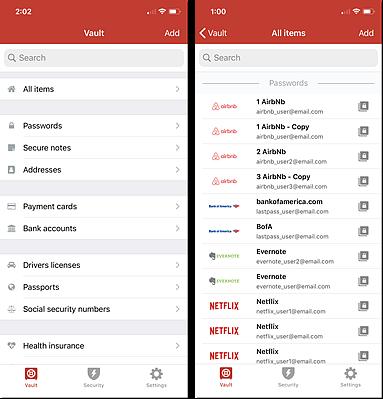 Vault iOS e visualizações de todos os itens
