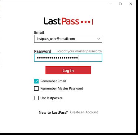Aplicativo de desktop LastPass para login do Windows
