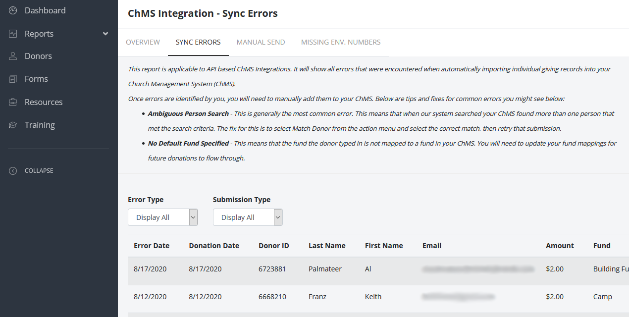 giving sync error report
