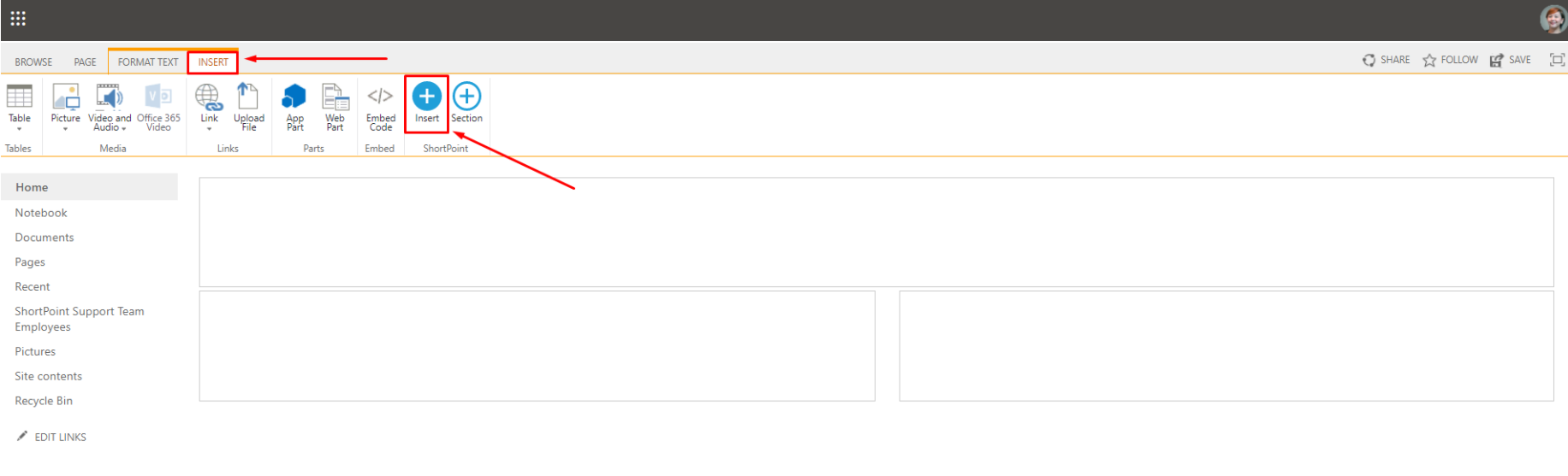 Insert ShortPoint on a Classic SharePoint page