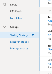 Left hand folder pane in Outlook showing groups section