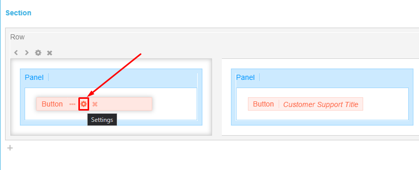Open the settings of the Button Design Element