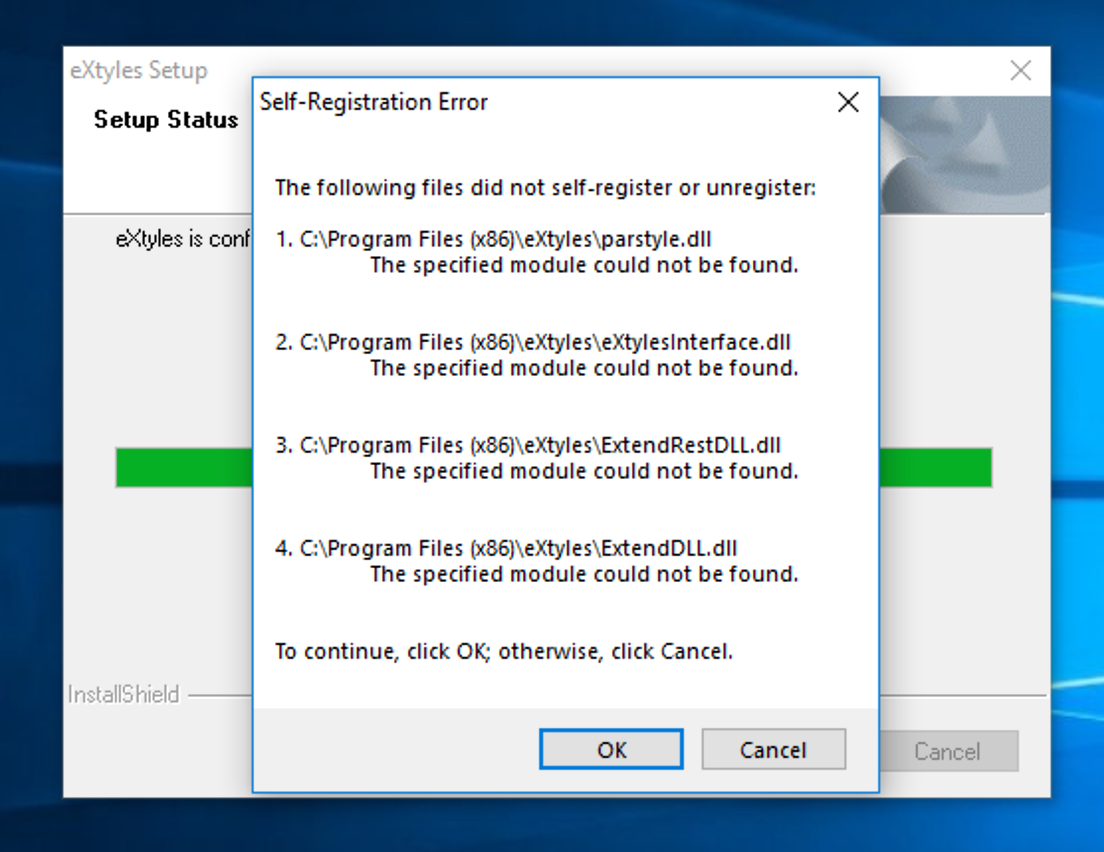 "Dialog box titled ""Self-Registration Error"" and listing 4 files that did not self-register or unregister, then the options ""To continue, click OK; otherwise, click Cancel"""