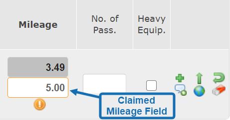 Claimed Mileage Field