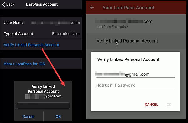 Verificar conta pessoal vinculada com iOS à esquerda, Android à direita