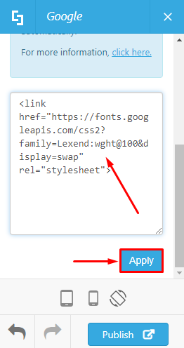 Add the code and click Apply