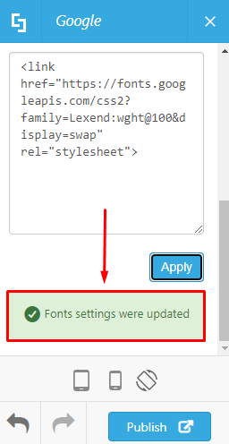 Fonts settings were updated indicator