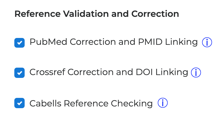 Reference Validation and Correction options, now including Cabells Reference Checking