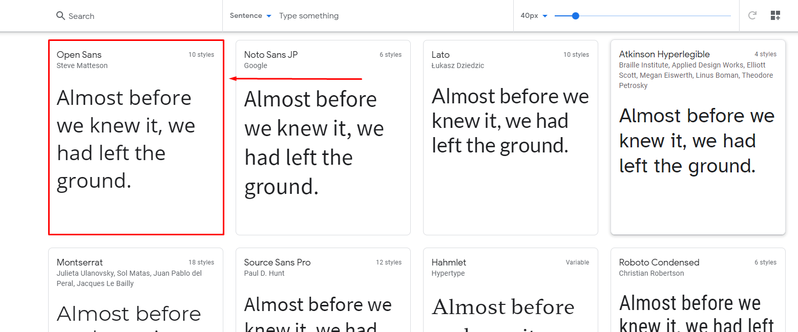 Select a font style