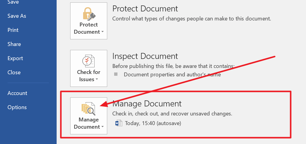 manage document button