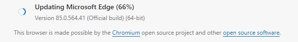 About screen for Edge, showing that it's downloading the new version