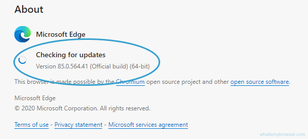 About screen for Edge, showing that it's checking if there's a newer version available.