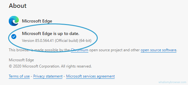 About screen for Edge, showing that it's up to date.