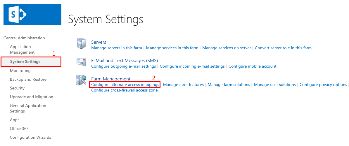 Go to System settings and select Configure alternate access mappings