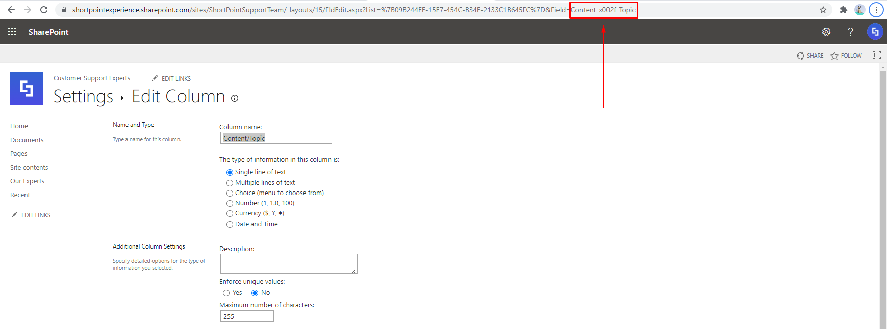 collect internal name from the URL