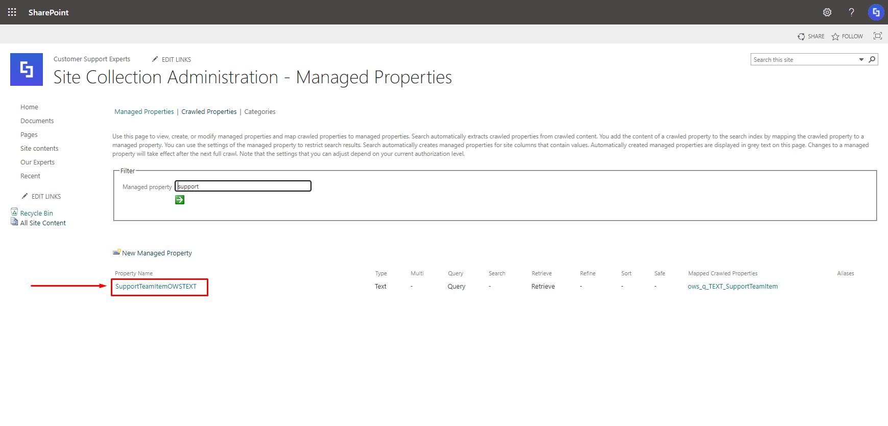 search and copy managed property name