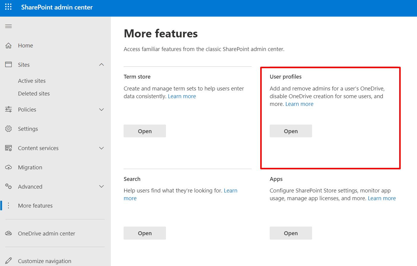 User Profiles in Admin Center