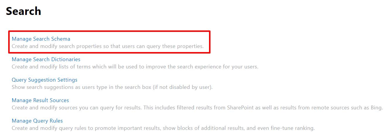 Manage Search Schema
